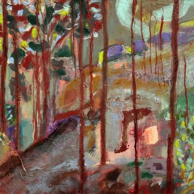 <strong>Through the woods</strong><br><p>oil on board<br />21 x 26 cm<br />framed<br /><br />An imaginary wood land on a sloping hill with signs of human activity. </p>