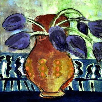 <strong>SOLD</strong><br><p>Vase with tulips</p><br><p>mixed media on board<br />30 x 40 cm<br />framed<br /><br />Purple tulips in an earthenware jug against a light green/blue background.</p>
