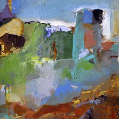 <strong>SOLD</strong><br><p>abstract 4 series 4</p><br><p>Acrylic and oil on board<br />30 x 40 cm</p><br><p>One could recognise some form of landscape with delapidated buildings in the background. For me personally there is an eerie feeling about it and at the same time it makes me want to travel inside. I tend to feel attracted to things that are ambivalent.</p>