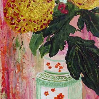 <strong>Chrysanthemums in vase II</strong><br><p>acrylic on paper<br />44 x 18 cm<br />box frame<br /><br />Chrysanthemums with red and white berries in a Japanese vase. Dominant colours; orange, red, pink, white, yellow, green.</p>