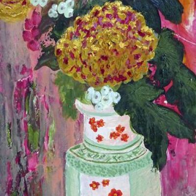 <strong>Chrysantimums in vase I</strong><br><p>acrylic on paper<br />18 x 44 cm<br />box frame<br /><br />Chrysanthemums with white and red berries in Japanese vase. Dominant colours; yellow, orange, green, pink, white.</p>