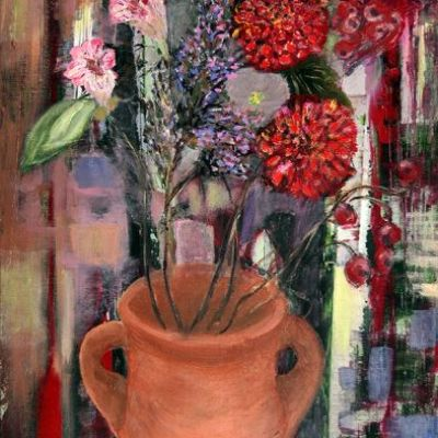 <strong>Leave a message</strong><br><p>oil on deep edge linen<br />80 x 40 x 4cm<br /><br />bouquet of flowers in an earthenware pot. Interactive painting; one can leave a message on the painting. Dominant colours are violet, purple, red, brown and green.</p>
