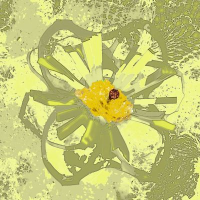 <strong>Snazzy Rubbish Flower Amarilla</strong><br><p>Multi media print<br />Price depending on square size<br /><br />Dominant colours; shades of yellow, green</p>