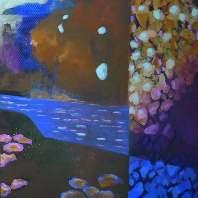 <strong>The pond</strong><br><p>acrylic on deep edge canvas</p><br><p>100 x 100 x 4.5 cm</p>