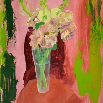 <strong>Vase with hollyhocks</strong><br><p>acrylic on paper<br />42 x 59 cm<br /><br />glass vase with creamy coloured hollyhocks on a table with in the background a chair. Dominant colours; shades of green, orange, red and pink.</p>